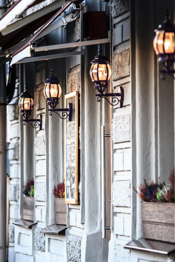 Urban facade decorative lamps royalty free stock photo