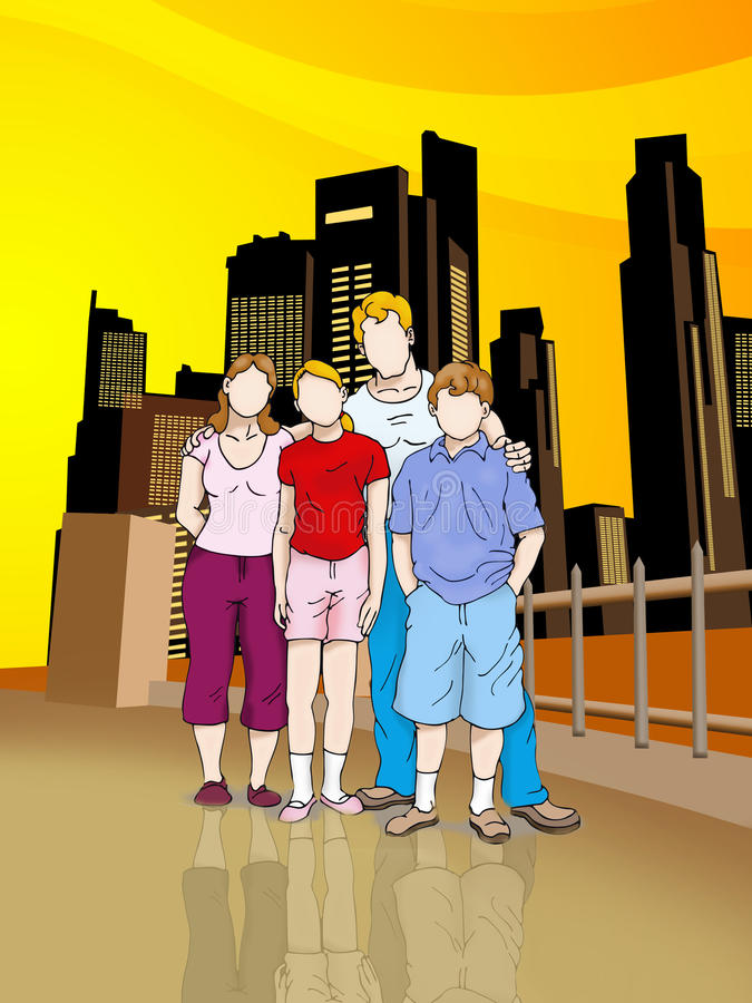 Download Urban family stock illustration. Image of photograph - 10797325