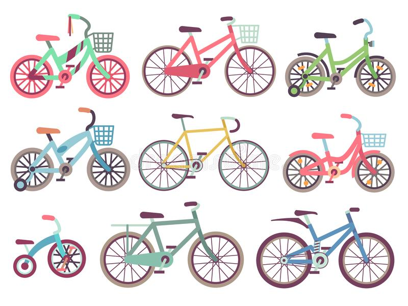 Urban family bikes flat vector set. Different bicycles collection stock illustration