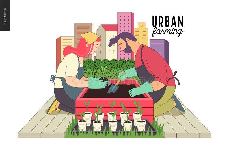 Urban farming and gardening royalty free illustration