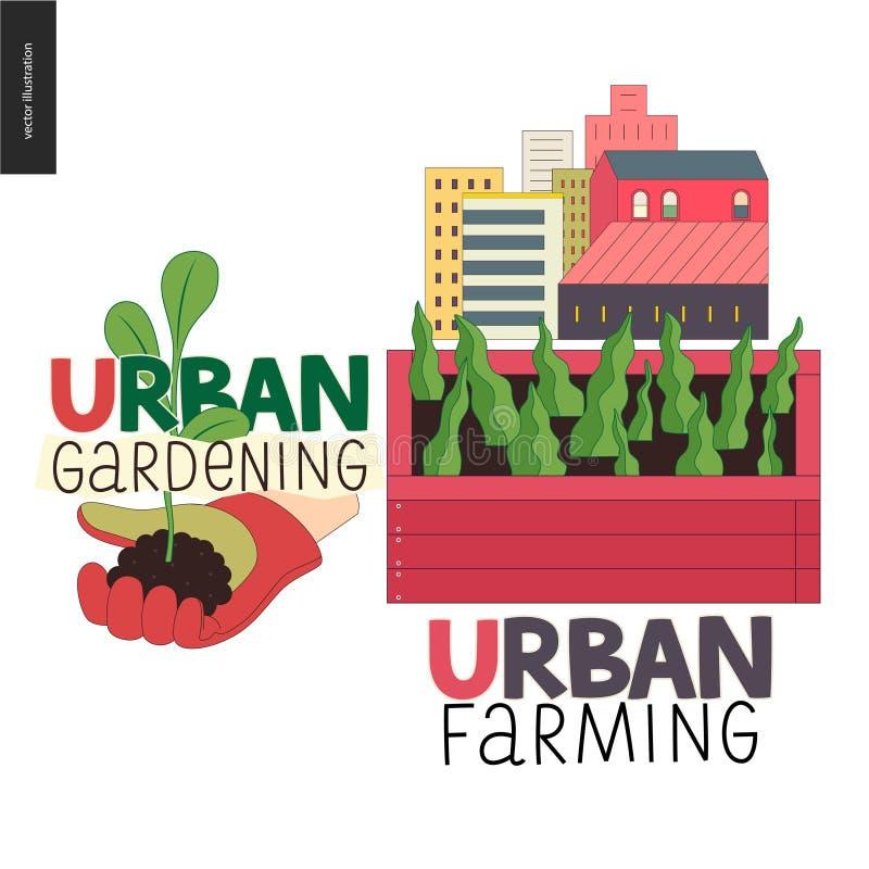 Urban farming and gardening logos vector illustration