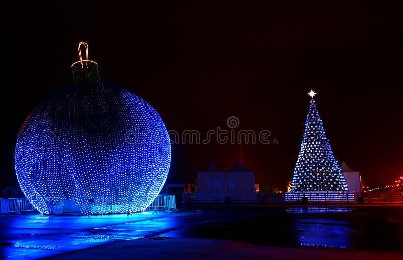 Urban festively decorated night royalty free stock image