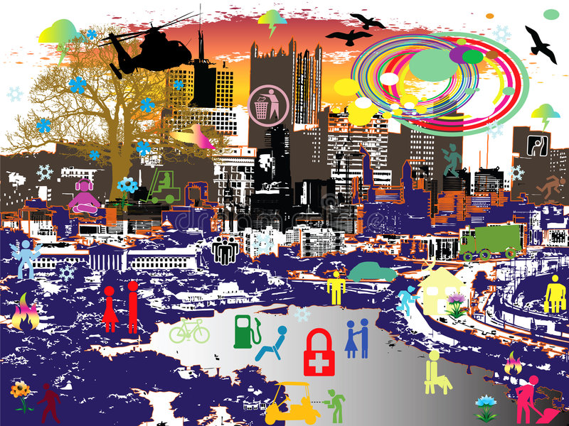 Urban figures. Jpeg and vector illustration with little urban moving figures and city signs stock illustration