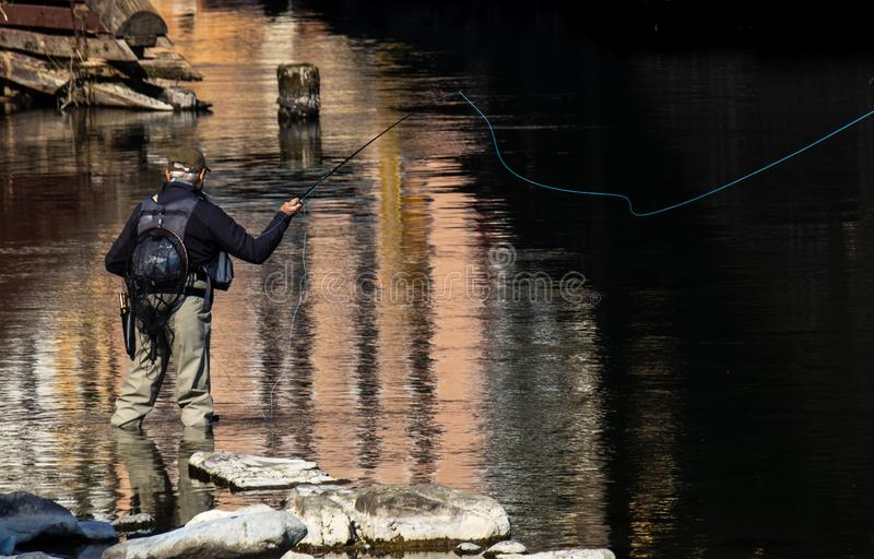 Urban fly fishing stock photography