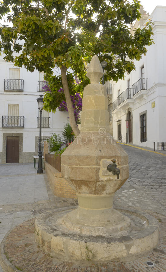 Download Urban fountain in Tarifa stock image. Image of city, bright - 26639733