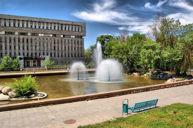 Urban fountains on Avenue in the city of Almaty stock photo