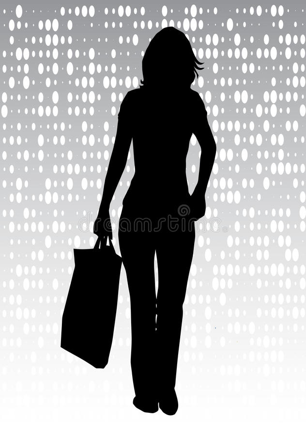 Urban girl shopping silhouette stock photos