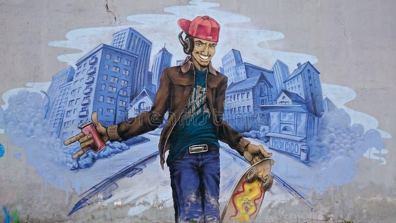 Urban graffiti - modern skater stock images