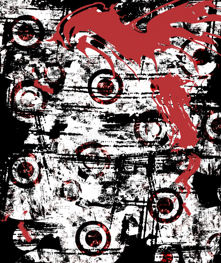 Urban Grunge Splatter. Background of blood splattered urban grunge stained wall in vivid red, black and white royalty free illustration