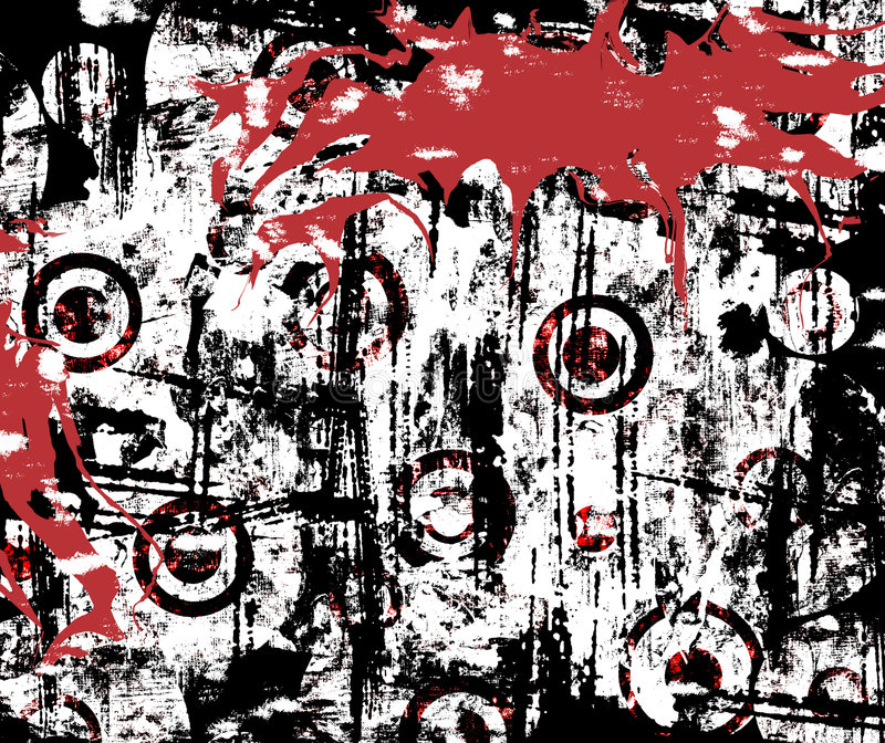 Urban Grunge Splatter. Background of with splattered blood on urban grunge stained wall in vivid red, black and white royalty free illustration