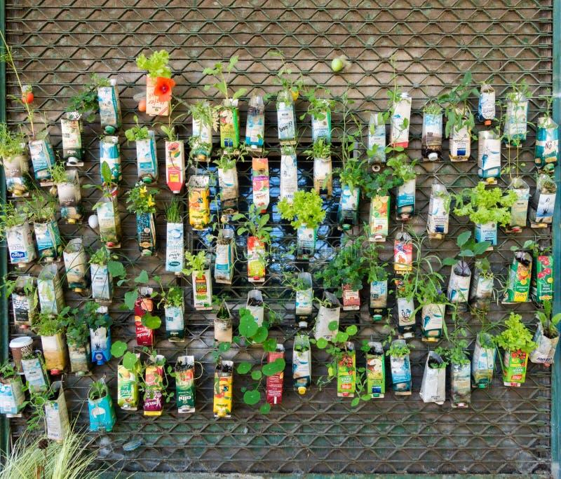 Urban guerilla gardening background in Berlin City. stock photo