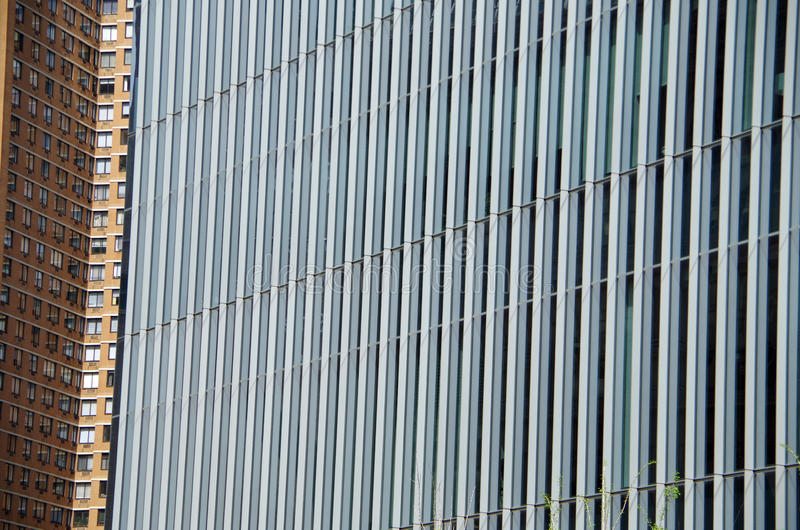 Urban high-rise composition. Modern high-rise urban buildings intersecting in nyc royalty free stock photo