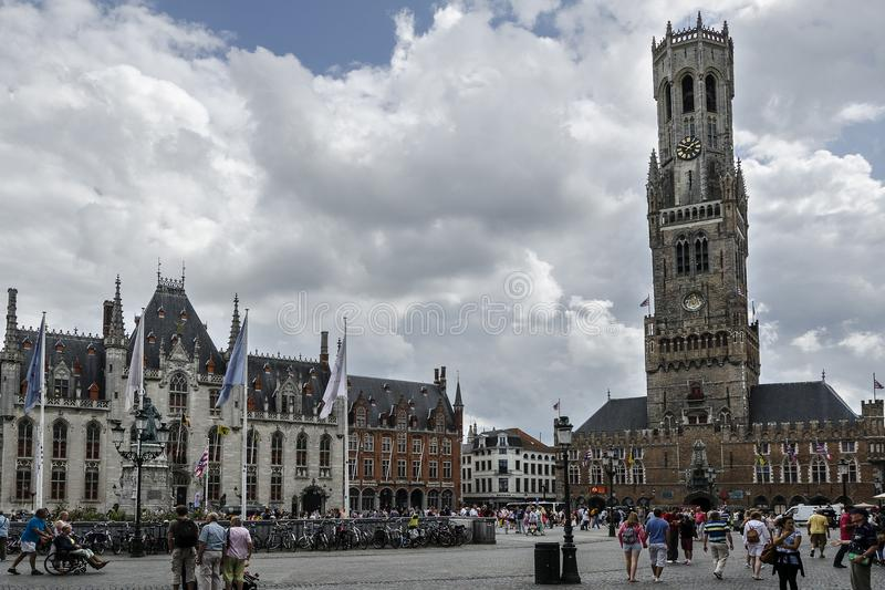 Cityscape with tower in Bruges, Belgium royalty free stock photos