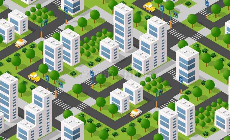 Urban isometric area stock illustration