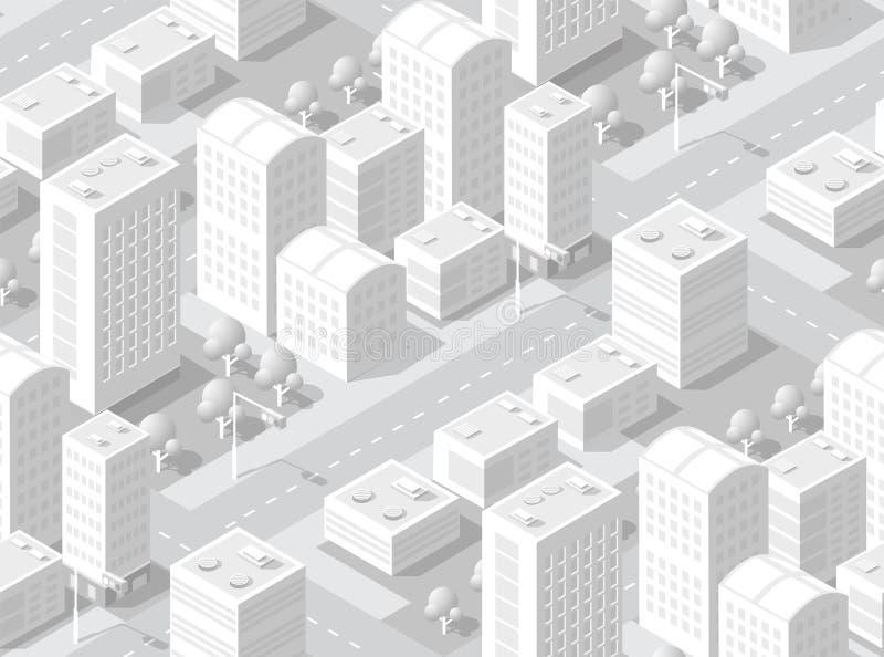 Urban isometric area vector illustration