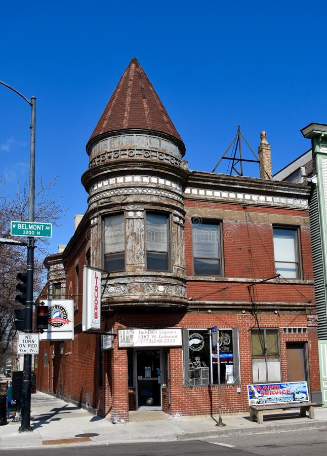 Urban Italianate. This is a Spring picture of an urban apartment building located in the Wrigleyville neighborhood of Chicago, Illinois. This structure built in stock photos