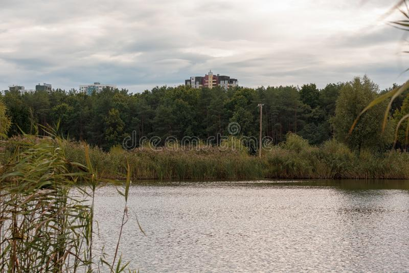 Urban Lake Autumn landscape, Ukraine. Urban Lake landscape, Kyiv Ukraine stock photos