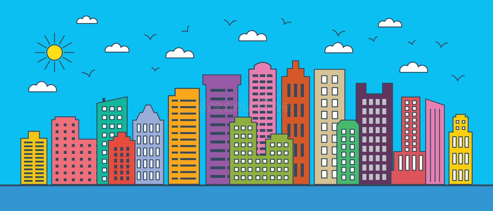 Thin line cityscape. Urban landscape with business buildings. Vector illustration of modern city buildings. Thin line design eleme stock illustration
