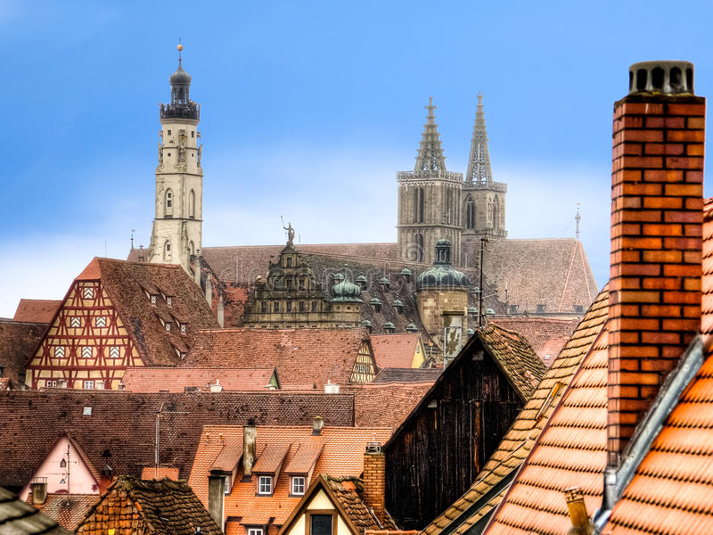 Urban landscape with a church of St. Jakob in the background. royalty free stock images