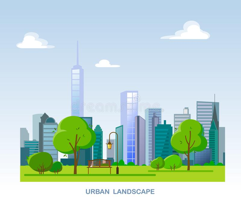 Urban landscape. City with skyscrapers and public park, bench and lantern with trees and bushes. stock illustration
