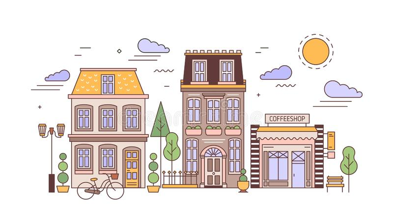 Urban landscape or cityscape with facades of stylish residential buildings. Street view of city district with elegant vector illustration