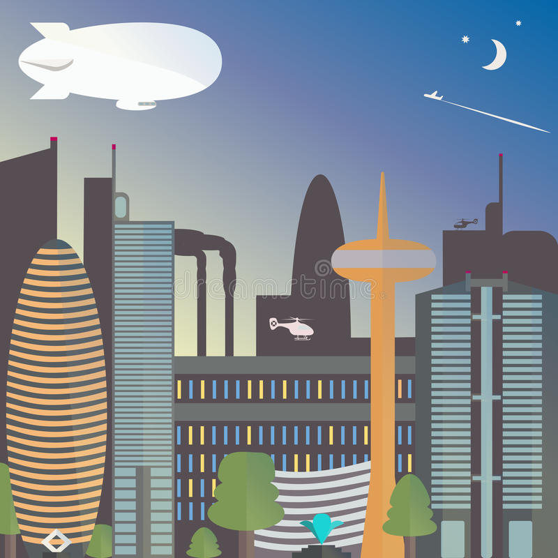 Urban landscape with a dirigible. The city night with the moon and stars. Skyscrapers and TV tower with fountain. Vector illustration stock illustration