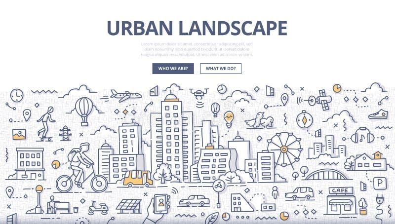 Urban Landscape Doodle Banner stock illustration