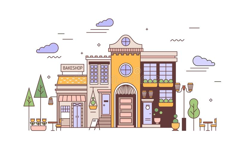 Urban landscape with facades of exquisite European building and bakery. Street view of city district with elegant house. And bakeshop or bakehouse. Colorful stock illustration