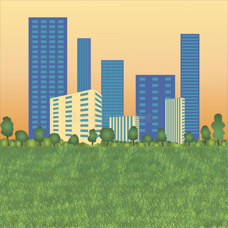 Urban landscape with high skyscrapers, trees and grass. stock image