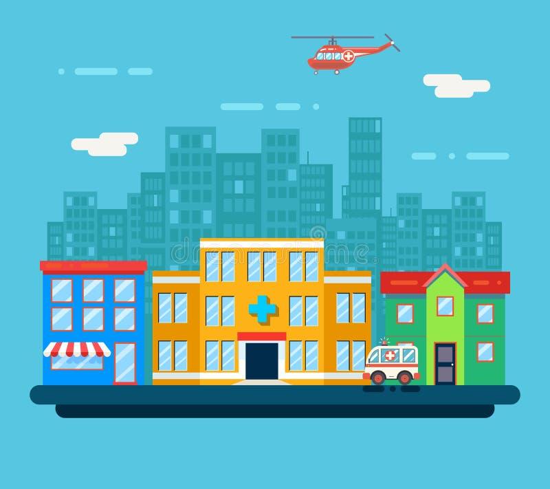 Urban Landscape Hospital Shop Residential House royalty free illustration