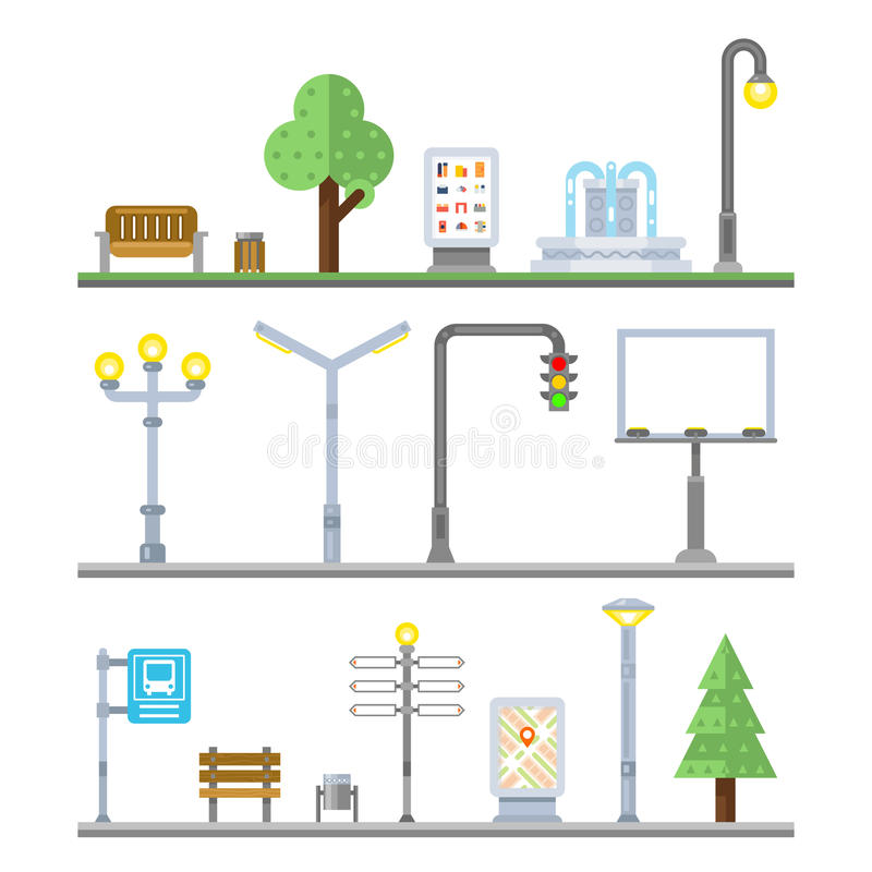 Urban landscape icons. Traffic lights lanterns, bench and fountain street elements. Urban landscape icons. Traffic lights and lanterns, bench and fountain street royalty free illustration