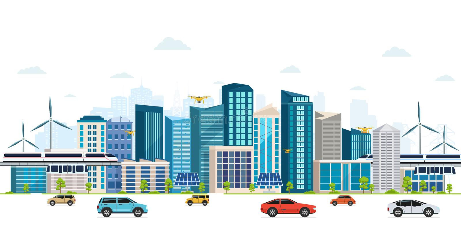 Urban landscape with large modern buildings, skyscrapers, skyway. vector illustration