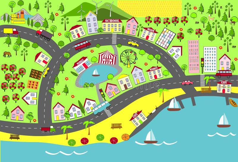 Urban landscape. Map design for mats, books, and childish development. Urban and suburbs landscape. Map design for mats, books, and childish development stock illustration