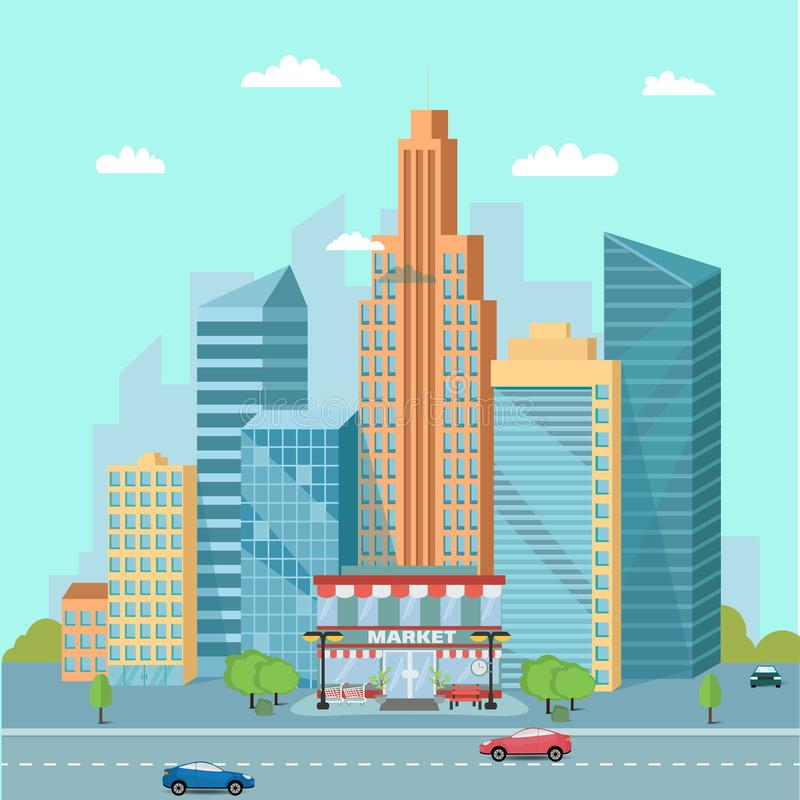 Urban landscape with market places and skyscrapers vector illustration