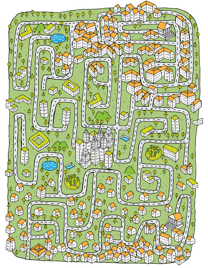 Download Urban Landscape Maze Game stock vector. Illustration of drawing - 29842450