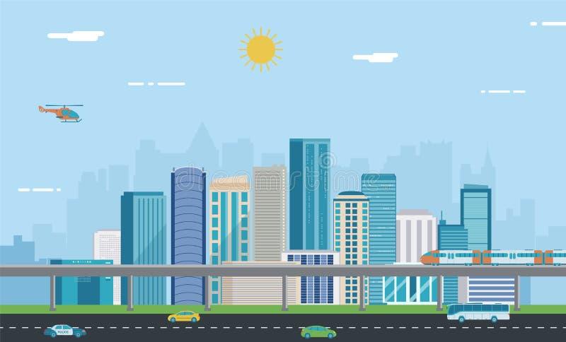 Urban landscape. Modern city. Building architecture, cityscape town. Vector stock illustration
