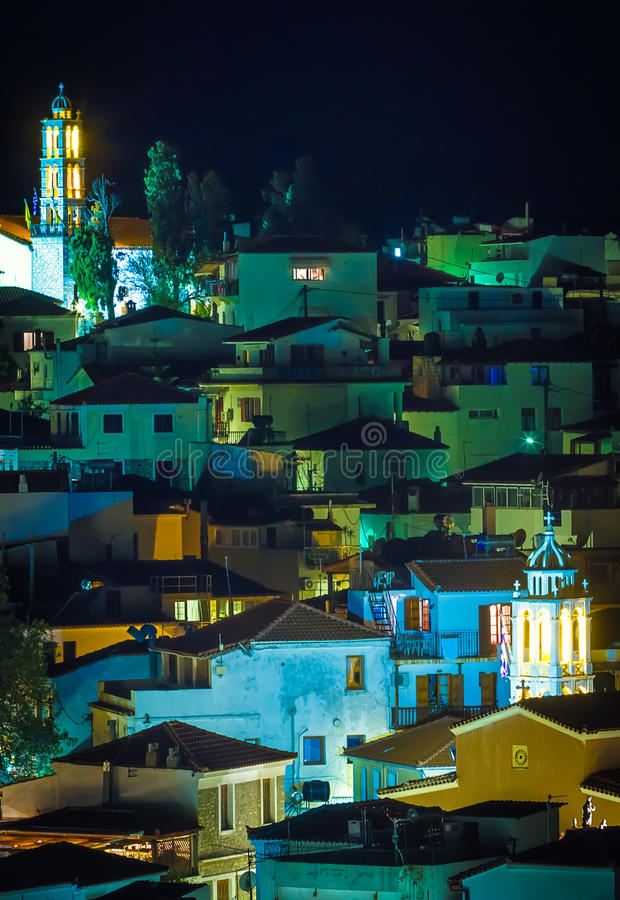 Urban landscape at night. With church royalty free stock photo