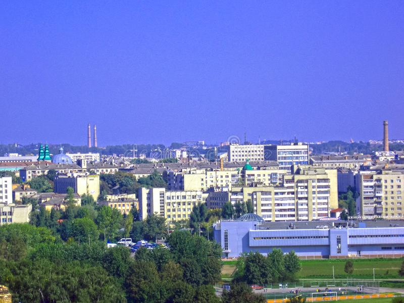 Urban landscape. Panoramic view landscape of a small town royalty free stock images
