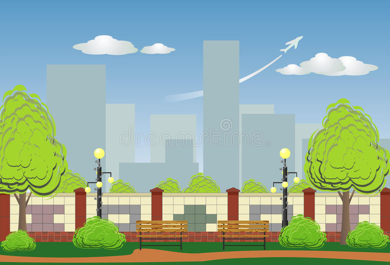 Urban landscape with a park on the foreground stock illustration