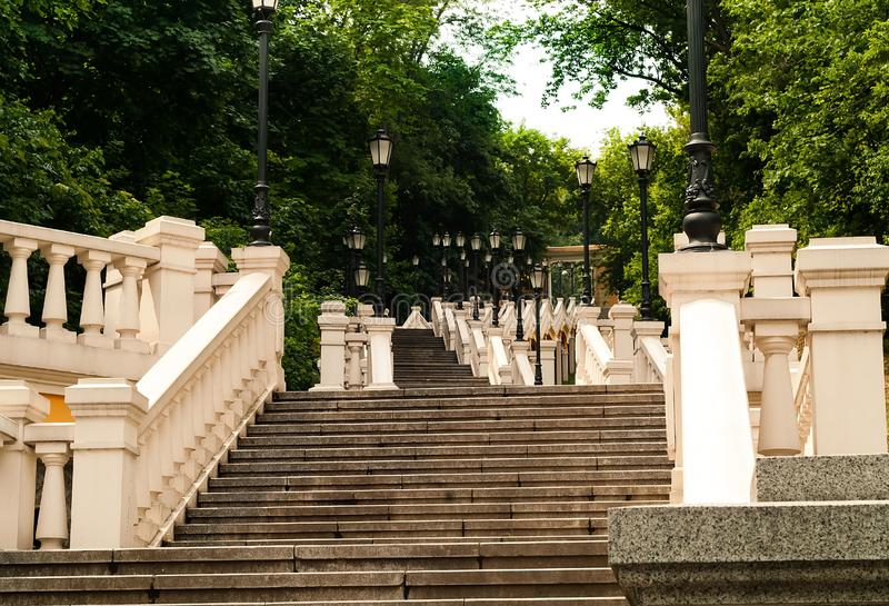 Urban landscape, stone staircase leading upward, the concept of urban objects in nature. Kiev, Ukraine, copy space. Closeup stock image