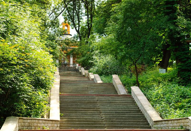 Urban landscape, stone staircase leading upward, the concept of urban objects in nature. Kiev, Ukraine, copy space. Closeup royalty free stock photos