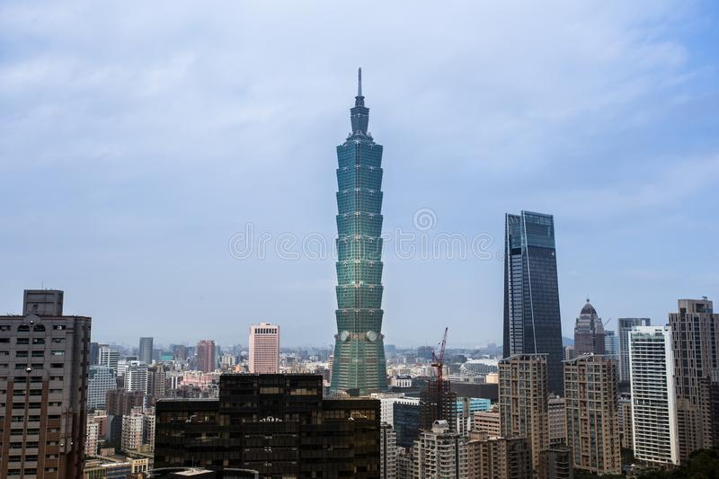 Urban Landscape Taipei 101, Taiwan. The view of the urban landscape of Taiwan, including the Taipei 101 building, viewed from the Elephant mountain stock photography