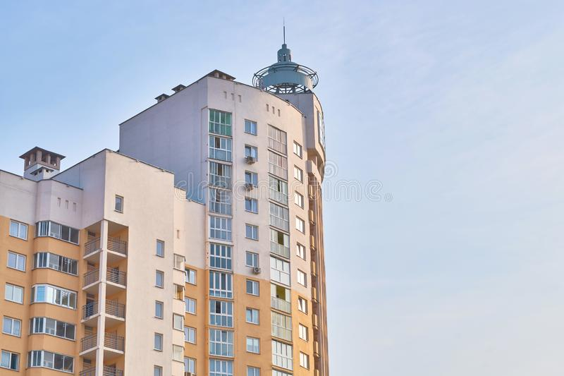 Urban landscape. Tallest building. Soft evening light. The building on sky background stock photography