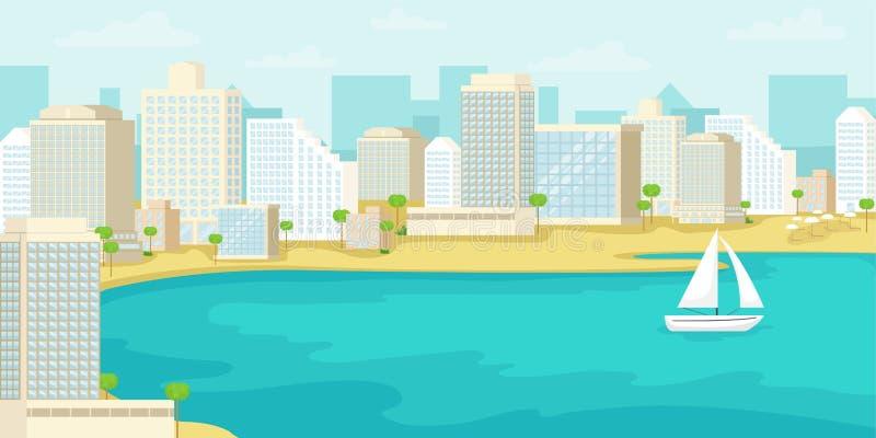 Urban landscape of the tel Aviv coast. Israel. Vector illustration stock illustration