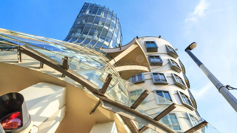 Urban landscape - view of the Nationale-Nederlanden Building in the style of deconstructivism nicknamed the Dancing House or Fred. And Ginger, in the Prague stock images