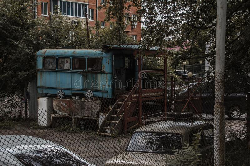 Urban landscape of the Vladivostok suburb. The outskirts of the city. Ruins and modernity. walking around town royalty free stock photos