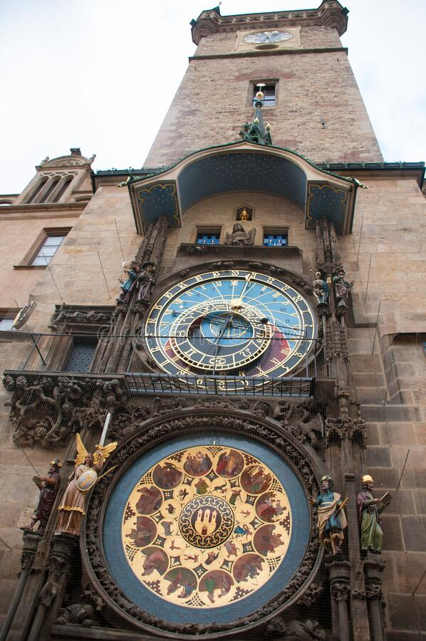 Astronomic clock in the old square in the city of Prague stock image