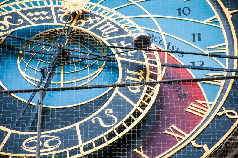 Astronomic clock in the old square in the city of Prague royalty free stock photos