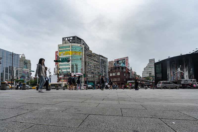 Urban life in front of Ximending Shopping District in Taipei, Taiwan. Ximending is the famous fashion, night Market and street royalty free stock photo
