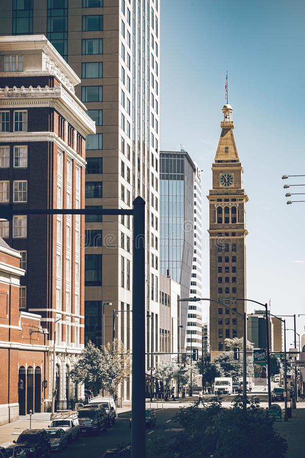 Urban lifestyle in the Denver city of Colorado state. Downtown district on a sunny day with beautiful sky. Amazing buildings in. The heart of Denver stock photo